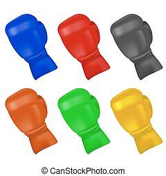 Set of Colorful Boxing Gloves