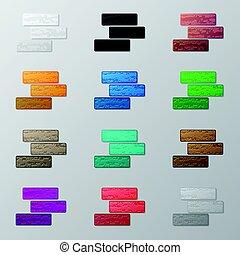 Set of colorful bricks