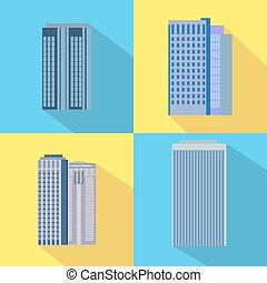 Set of colorful business buildings