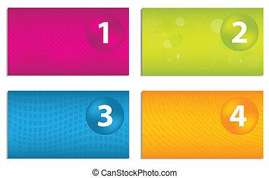 Colorful business cards with magic light and bright colors vectors set of colorful business cards with numbered buttons colourmoves