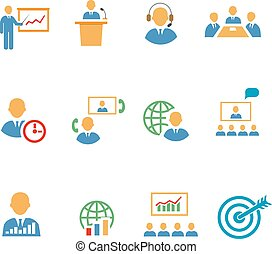 Set of colorful business people vector strategic icons ...