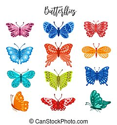 Set of colorful butterflies isolated on white background.