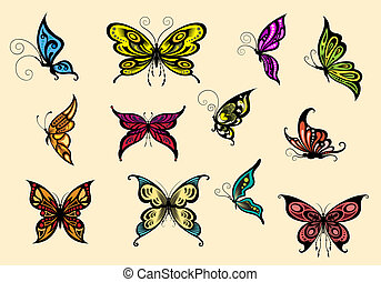 Set of colorful butterflyes