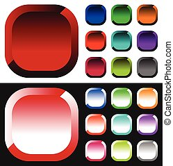 Set of colorful button, icon shapes, backgrounds.