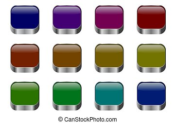 Set of colorful buttons for websites and blogs, modern design