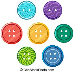 Set of colorful buttons on white background