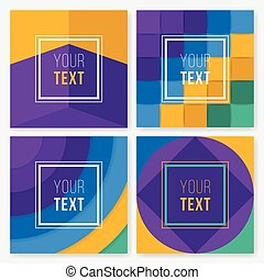 Set of colorful cards. Modern abstract design poster, cover, card design. Trendy geometric. Retro style texture, pattern and geometric elements.