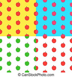 Set of colorful cartoon apples seamless patterns