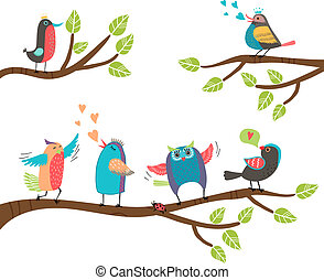 Set of colorful cartoon birds on branches