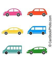 set of colorful car