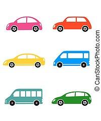 set of colorful car