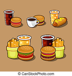 Set of colorful cartoon fast food icons.