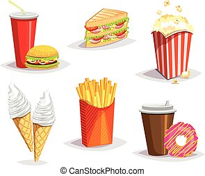 Set of colorful cartoon fast food i