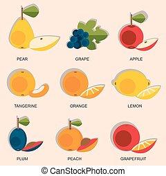Set of colorful cartoon fruit icons: apple, pear, orange, peach, plum, grapes, lemon. Vector illustration isolated on white.