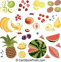 Set of colorful cartoon fruit