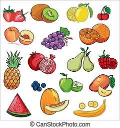 Set of colorful cartoon fruit icons. Hand drawn fresh food design elements