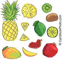 Set of colorful cartoon fruit icons: pineapple, kiwi, lemon, mango, garnet, lime.