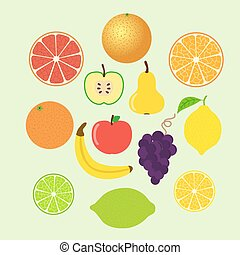 Set of colorful cartoon fruit icons. Whole and slices.