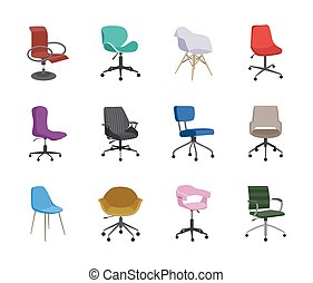 Set of colorful cartoon icons of office chairs flat vector illustration isolated.
