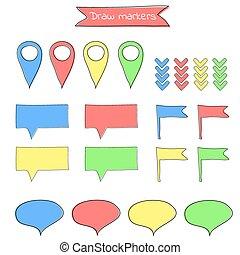 Colorful cartoon xmas presents location marker  Colorful