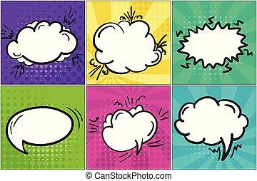 Set of colorful cartoon retro comic speech bubbles