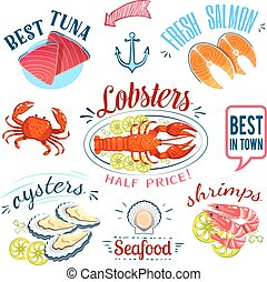 Set of colorful cartoon seafood labels: tuna, salmon, lobster, oysters and shrimps, isolated on white. Vector illustration, eps10.