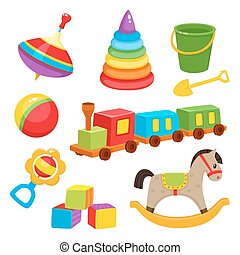 Set of colorful, cartoon style baby toys, kid items