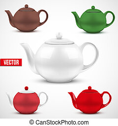Set of colorful ceramic teapot. Vector.