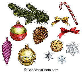 Set of colorful christmas elements and decorations. Vector illustration