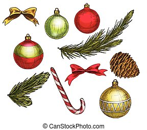 Set of colorful christmas elements and decorations. Vector illustration.