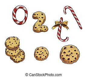 Set of colorful christmas elements candies and cookies. Vector illustration
