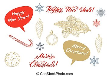 Set of colorful christmas elements , decorations and lettering. Vector illustration.