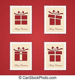 Set of colorful Christmas Postage stamps