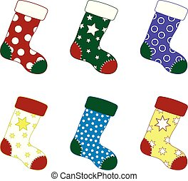 Set of Colorful Christmas Socks. Different Sockings in Cartoon Flat Style. Vector illustration for Your Design.