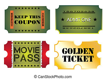 Set of colorful cinema tickets
