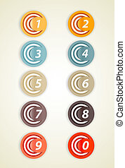 Set of colorful circles with numbers.