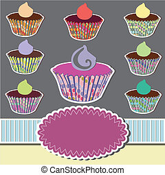 Set of colorful cupcakes