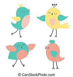 Set of colorful cute birds