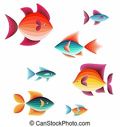 Set of colorful, cute fish. Vector illustration