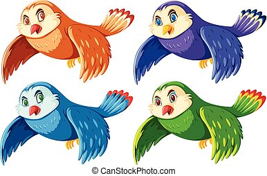 Set of colorful cute owls