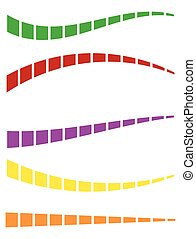 Set of colorful dashed lines in different directions