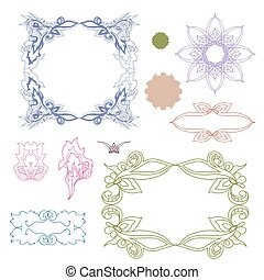 Set of colorful design elements Doodle hand drawn