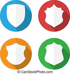 Set of colorful different shield shapes icons in flat style with long shadow. Vector illustration