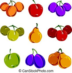 Set of colorful different vector ripe sweet fruits....