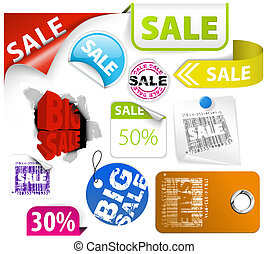Set of colorful discount elements