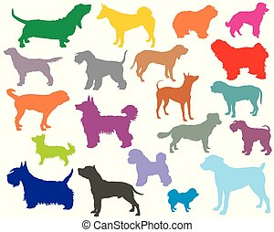Set of colorful dogs silhouettes-5 - Vector set of colorful...