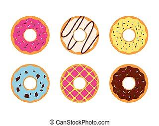 Set of colorful donuts glazed sweet sugar icing isolated on a white background