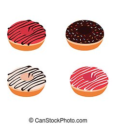 Set of colorful donuts isometric view vector