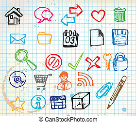 Set of colorful doodle computer icons