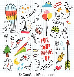 Set of colorful doodle on paper background